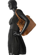Sac Shopping Cuir Milano Marron dewashed DE17115-vue-porte