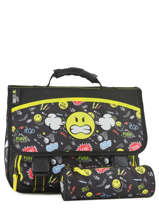 Cartable 2 Compartiments Avec Trousse Offerte Smiley Noir street SNZ13007