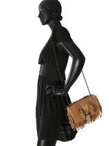 Longchamp Amazone folk Besace Beige-vue-porte