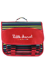Cartable 2 Compartiments Little marcel Rouge raye 8874