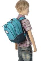 Sac à Dos Enfant 2 Compartiments Cameleon Bleu retro RET-PRI-vue-porte