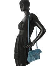 Longchamp Give me a hug Sac porté travers Bleu-vue-porte