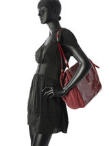 Sac Shopping Leather Suede Patrizia pepe Rouge leather suede 2V8429-vue-porte