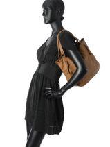 Sac Shopping Zipper Cuir Basilic pepper Marron zipper BZIP04-vue-porte