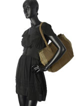 Sac Shopping Loris Cuir Mila louise Vert vintage 3294CVG-vue-porte