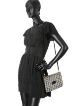Sac Bandoulière Tweed Mila louise Noir tweed 23665CT2-vue-porte