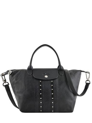 Longchamp Le pliage cuir rock Sac porté main Noir