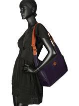 Longchamp Le pliage Sac porté travers Violet-vue-porte