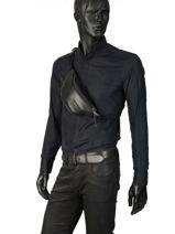 Sac Banane Eastpak Noir leather K074L-vue-porte