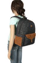 Rugzak 1 Compartiment Roxy Zwart backpack RJBP3914-vue-porte