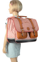 Boekentas Meisje 3 Compartimenten Cameleon Roze vintage print girl VIG-CA41-vue-porte