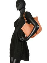 Sac Shopping Pearline Paille Mila louise Orange paille 23684P2-vue-porte