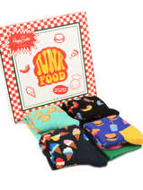 Coffret Cadeau Junk Food Happy socks Noir pack XFOD09-vue-porte