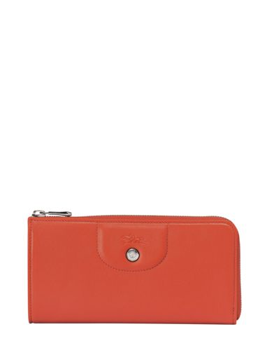 Longchamp Le pliage cuir Portefeuille Orange