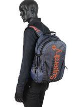 Sac à Dos Honey Comb 2 Compartiments Superdry Bleu backpack men M91015MT-vue-porte