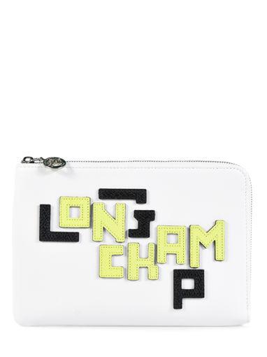 Longchamp Le pliage cuir lgp Pochette Blanc