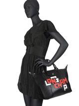Longchamp Le pliage cuir lgp Sac porté main Noir-vue-porte