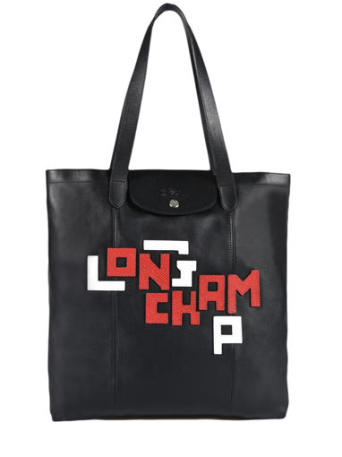Longchamp Le pliage cuir lgp Besace Noir