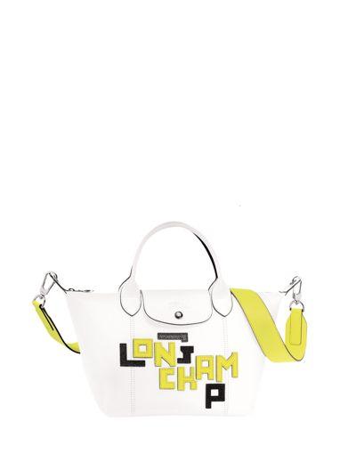 Longchamp Le pliage cuir lgp Sac porté main Blanc