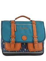Boekentas Jongen 3 Compartimenten Cameleon Blauw vintage urban VIB-CA41
