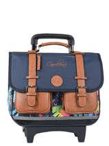 Cartable à Roulettes Fille 2 Compartiments Cameleon Bleu vintage print girl VIG-CR38
