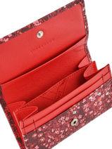 Longchamp Le pliage fleurs Porte monnaie Rouge-vue-porte