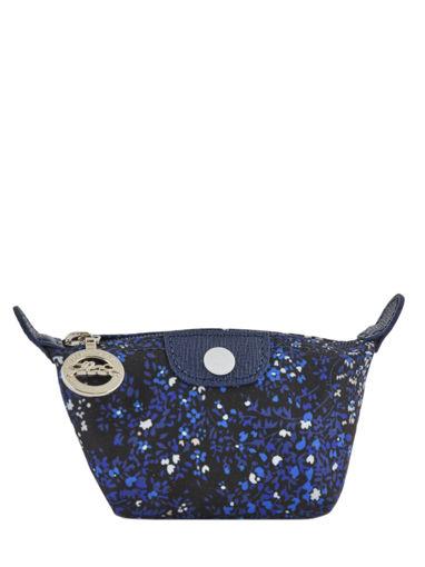 Longchamp Le pliage fleurs Porte monnaie Bleu