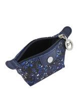 Longchamp Le pliage fleurs Porte monnaie Bleu-vue-porte