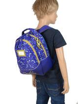 Sac à Dos Enfant 2 Compartiments Cameleon Bleu retro RET-SD31-vue-porte