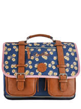 Cartable 2 Compartiments Cameleon Bleu vintage print girl VIG-CA38