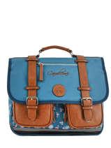 Cartable Fille 2 Compartiments Cameleon Bleu vintage fantasy VIG-CA38
