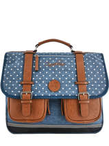 Cartable Fille 3 Compartiments Cameleon Bleu vintage print girl VIG-CA41