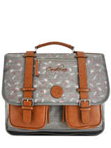 Cartable 3 Compartiments Cameleon Gris vintage print girl VIG-CA41