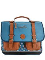 Cartable Fille 3 Compartiments Cameleon Bleu vintage print girl VIG-CA41