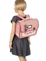 Cartable Enfant 1 Compartiment Cameleon Rose retro vinyl REV-CA32-vue-porte
