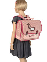 Cartable Enfant 2 Compartiments Cameleon Rose retro vinyl REV-CA35-vue-porte
