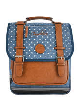 Sac à Dos 2 Compartiments Cameleon Bleu vintage print girl VIG-SD38