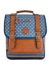 Sac à Dos Fille 2 Compartiments Cameleon Bleu vintage print girl VIG-SD38