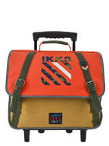 Cartable à Roulettes 2 Compartiments Ikks Orange army 42526