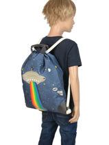 Sac De Sport City Bag Jeune premier Bleu canvas CIN19-vue-porte