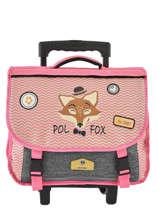 Boekentas Op Wieltjes 2 Compartimenten Omkeerbaar Pol fox Roze fille F-TCA38R