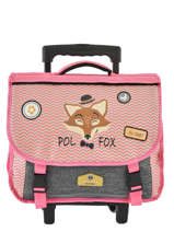 Cartable à Roulettes 2 Compartiments Réversible Pol fox Rose fille F-TCA38R