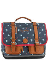 Cartable Fille 3 Compartiments Cameleon Bleu vintage print girl PBVGCA41