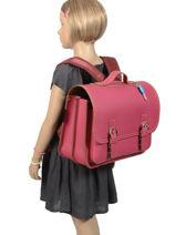 Boekentas 2 Compartimenten Own stuff Roze satchel OS048-vue-porte