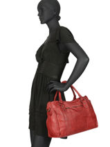 Sac Porté Main Cow Cuir Basilic pepper Rouge cow BCOW22-vue-porte