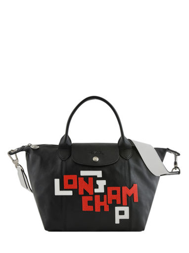 Longchamp Le pliage cuir lgp Sac porté main Rose
