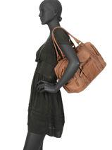 Sac Shopping Line Cuir Basilic pepper Marron line BLIN01-vue-porte