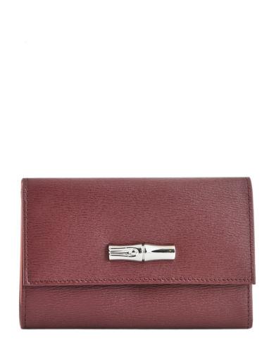 Longchamp Roseau Portefeuille Rouge