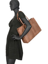 Sac Shopping L About Ally Cuir Burkely Marron about ally 545029-vue-porte