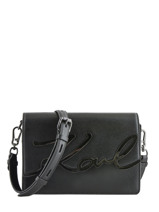 Cross Body Tas K Signature Leder Karl lagerfeld Zwart k signature 81KW3057
